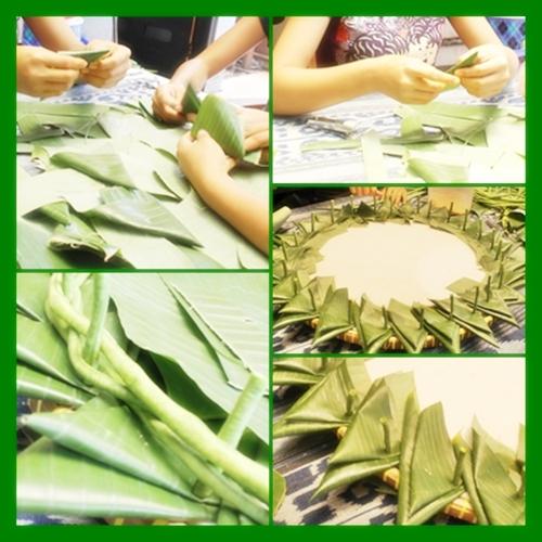 Dimulai dengan melipat daun, untuk tersusun rapih dlm tah uku