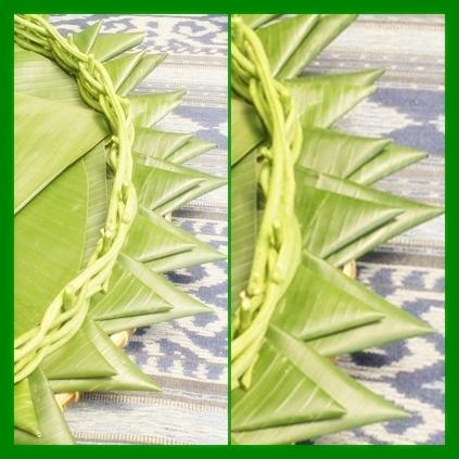 tutuplah bagian tengah styrofoam dengan daun pisang gunting memutar