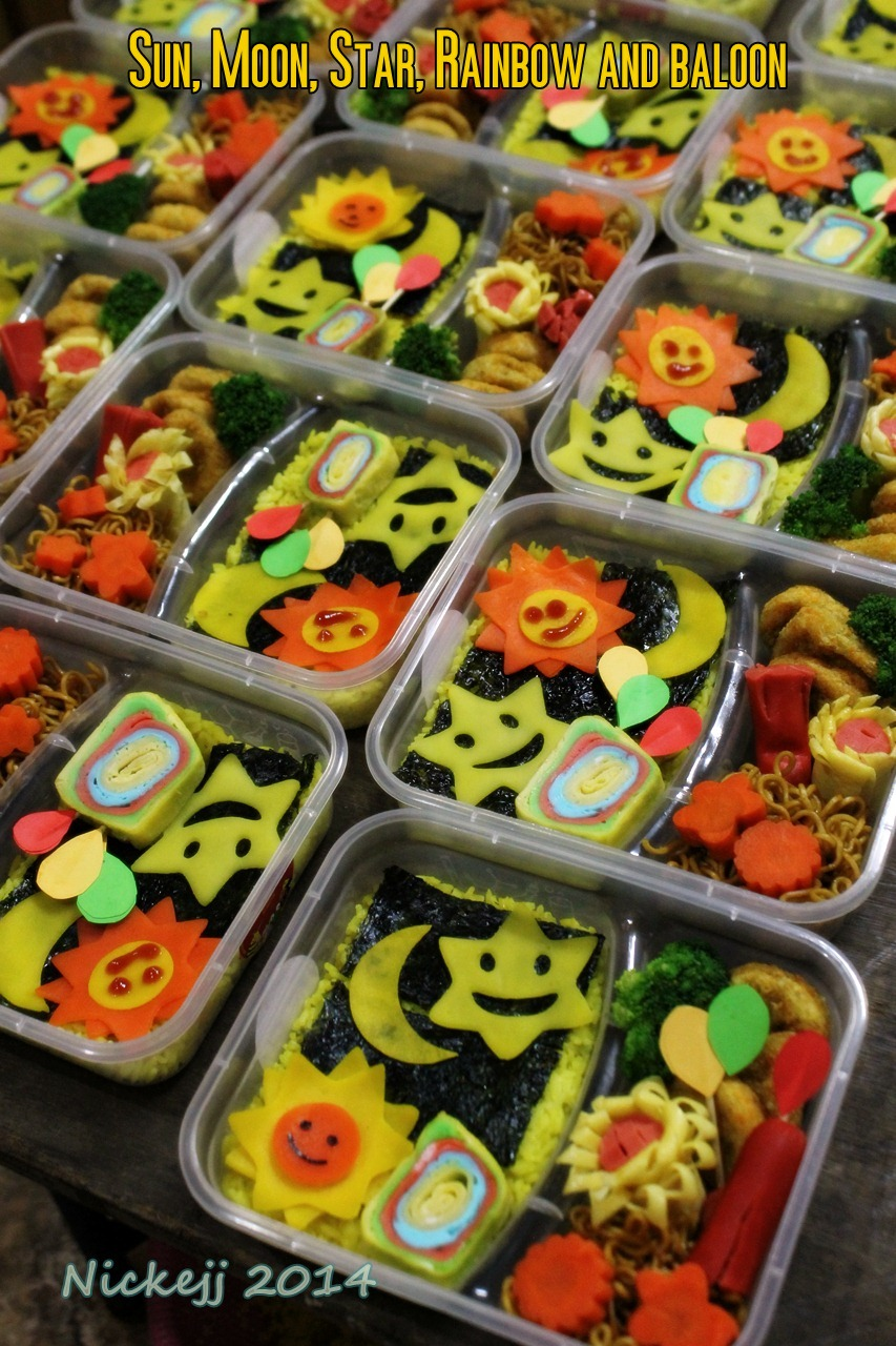 Sun, Moon, Star, rainbow and baloons bento